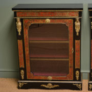 Spectacular Rare Pair Of Decorative Victorian Boulle Glazed Pier Cabinets