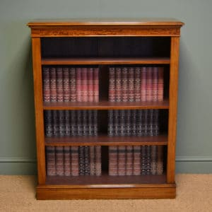 Spectacular Quality Victorian Figured Mahogany Antique Open Bookcase