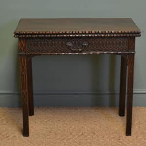 Unusual Georgian Mahogany Chippendale Design Antique Side / Tea Table