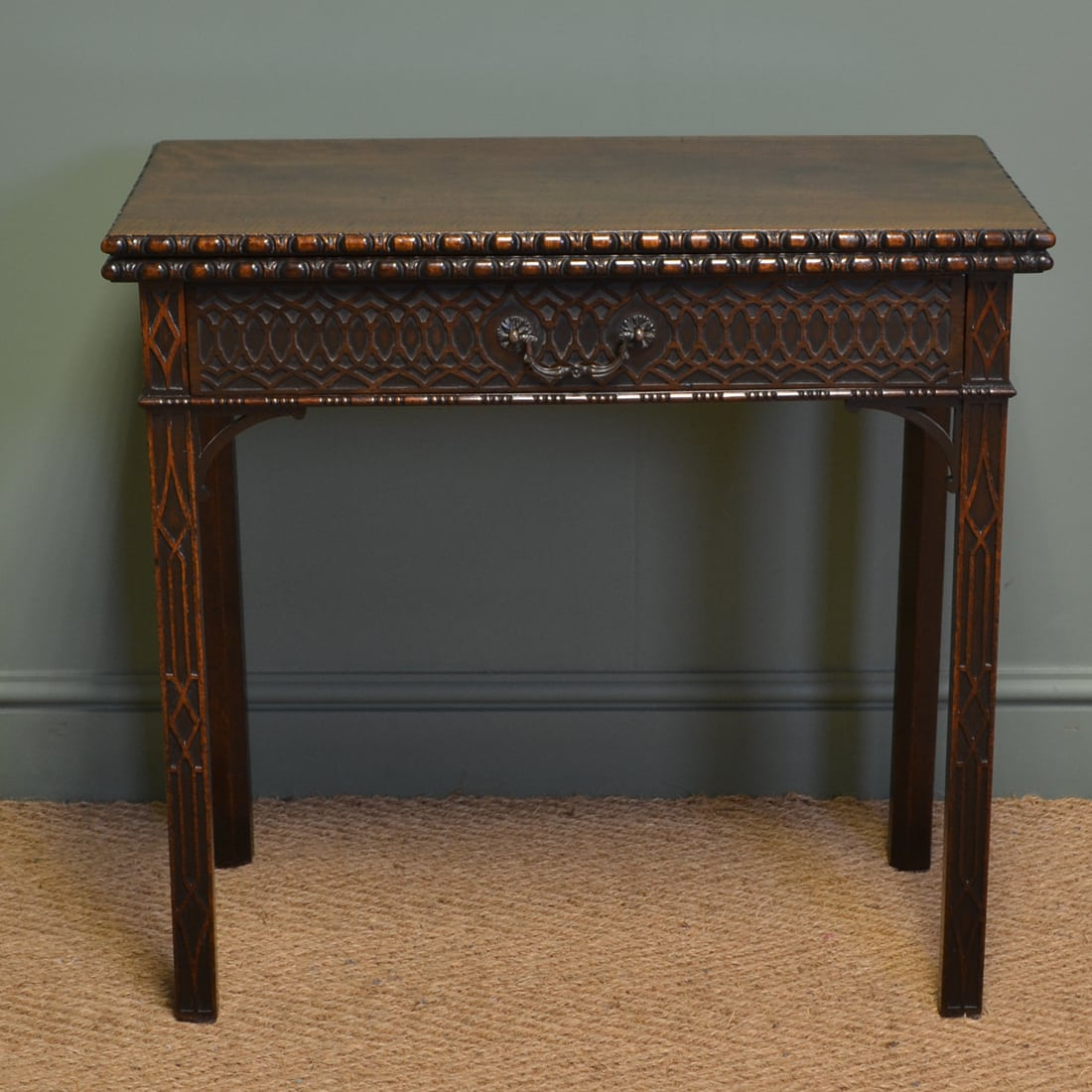 Unusual Georgian Mahogany Chippendale Design Antique Side / Tea Table