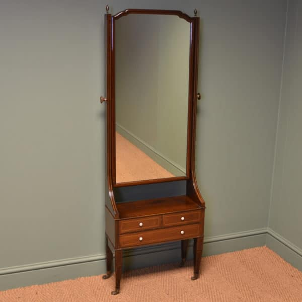 Unusual Edwardian Mahogany Antique Cheval Mirror with Drawers