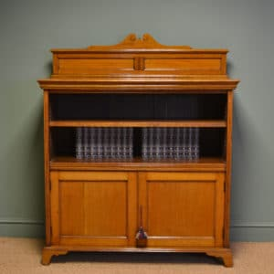 Spectacular Victorian Golden Oak Antique Open Bookcase on Cupboard