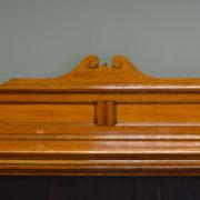 Spectacular Victorian Golden Oak Antique Open Bookcase on Cupboard