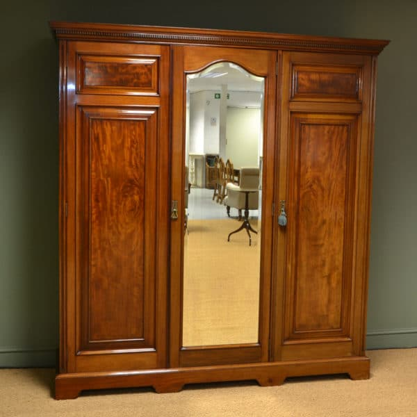 Beautifully Figured Victorian Mahogany Antique Triple Wardrobe
