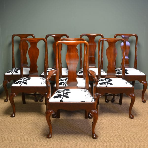 Superb Quality Set of Eight Edwardian Mahogany Antique Dining Chairs