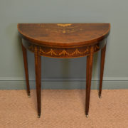 Spectacular Inlaid Edwardian Mahogany D Shaped Antique Side / Games Table