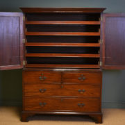 Superb Quality Georgian Figured Mahogany Antique Linen Press