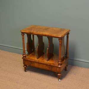 Sensational Victorian Figured Burr Walnut Antique Canterbury / Magazine Rack
