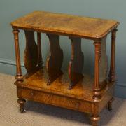 Sensational Victorian Figured Burr Walnut Antique Canterbury / Magazine Rack