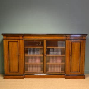 Spectacular Victorian Golden Oak Inverted Break Front Antique Bookcase / Cabinet