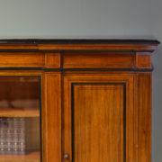 Spectacular Victorian Golden Oak Inverted Break Front Antique Bookcase / Cabinet