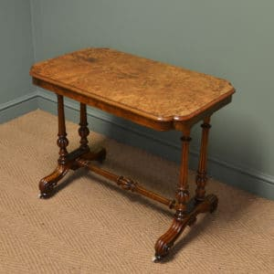 Striking Victorian Figured Golden Burr Walnut Antique Centre / Side / Writing Table