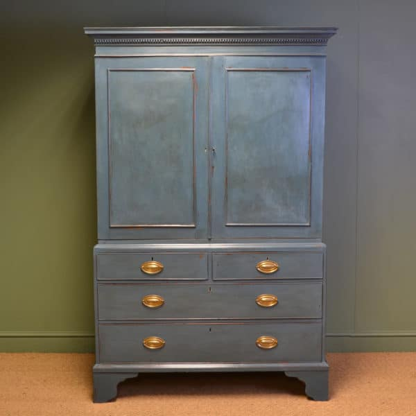Country Georgian Antique Painted Linen Press / Wardrobe