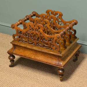Spectacular Victorian Figured Walnut Antique Canterbury