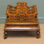 Spectacular Victorian Figured Walnut Antique Canterbury