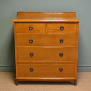 View Stunning Golden Oak Edwardian Antique Chest Of Drawers