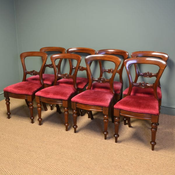 Beautiful Set of Eight Victorian Balloon Back Antique Dining Chairs