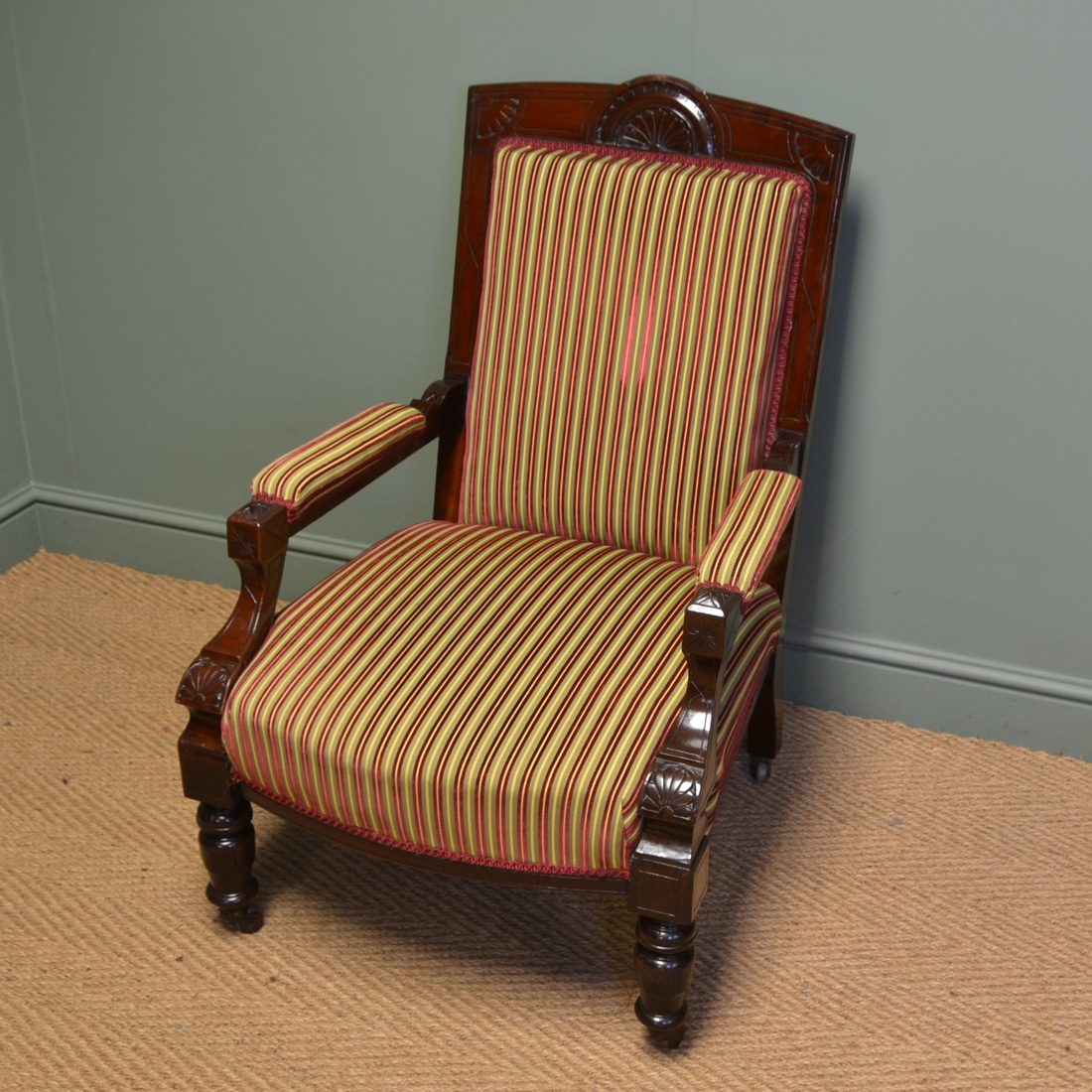 Striking Victorian Walnut Upholstered Antique Arm Chair ...