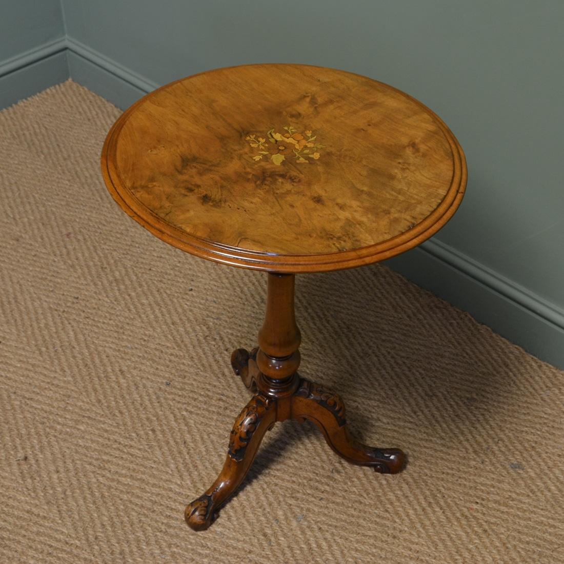 Spectacular Victorian Inlaid Walnut Antique Wine Table