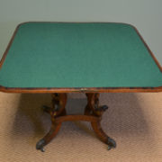 Spectacular Regency Figured Rosewood Antique Brass Inlaid Console / Games Table
