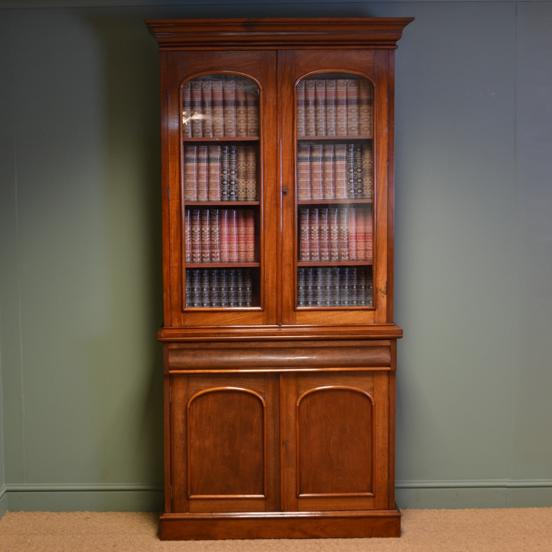 Antique Bookshelves: Beautiful Victorian Mahogany Antique Glazed Bookcase On