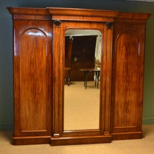 Spectacular William IV Break Fronted Figured Mahogany Antique Triple Wardrobe