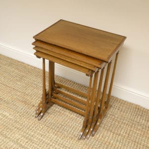 Edwardian Mellow Walnut Nest of Four Antique Tables