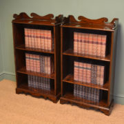 Unusual Pair of Edwardian Antique Walnut Open Bookcases