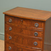 Small Edwardian Mahogany Bow Fronted Antique Chest Of Drawers