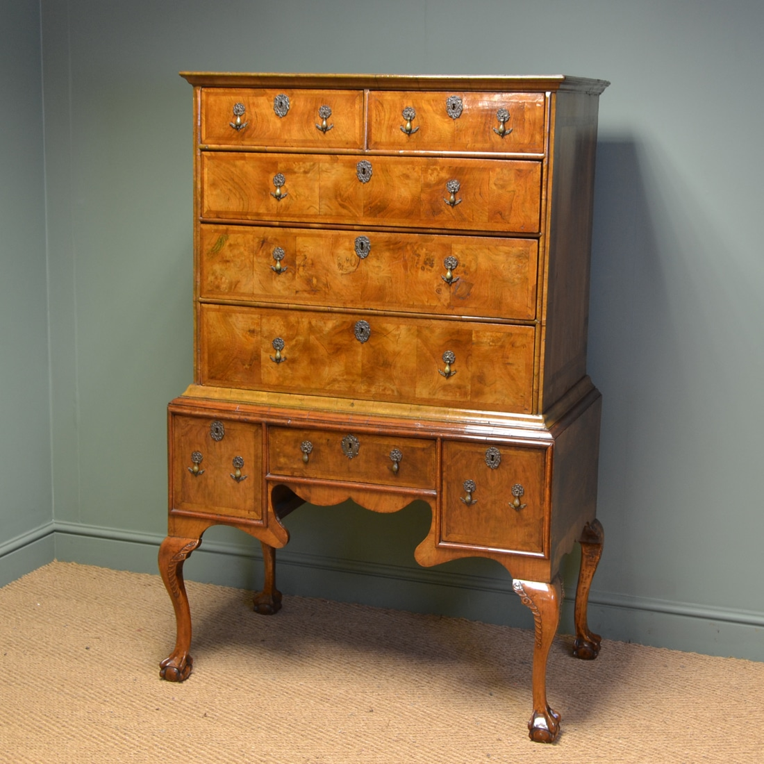 Magnificent Eighteenth Century Figured Walnut Antique Chest On Stand