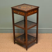 Decorative Elegant Dutch Marquetry Walnut Inlaid Antique Victorian Side Table