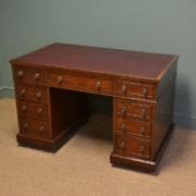 Quality Victorian Mahogany Antique Pedestal Desk