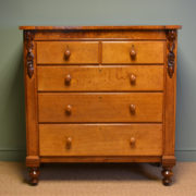 Spectacular Early Victorian Figured Oak Antique Chest Of Drawers