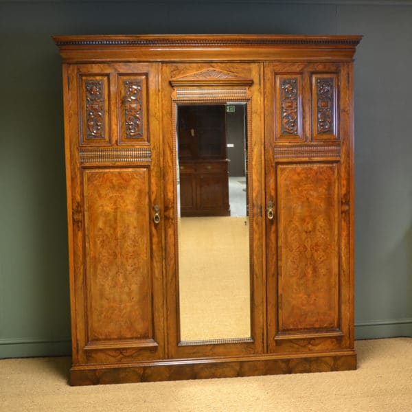 Striking Victorian Figured Burr Walnut Antique Triple Wardrobe By Philips & Jones