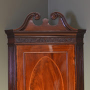 Elegant Georgian Figured Mahogany Antique Corner Cupboard on Stand