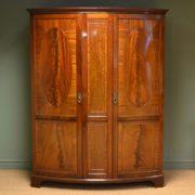 Spectacular Figured Mahogany Bow Fronted Edwardian Antique Double Wardrobe