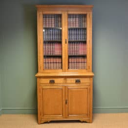 Spectacular Golden Oak Maple & Co Victorian Antique Bookcase