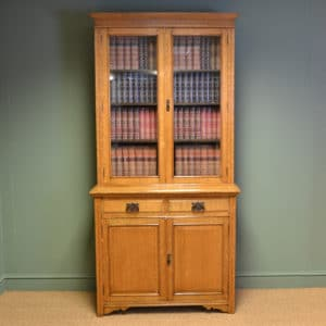 Spectacular Golden Oak Maple & Co Victorian Antique Bookcase