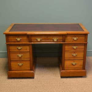 Spectacular Walnut Break Fronted Victorian Antique Pedestal Desk