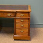 Spectacular Walnut Break Fronted Victorian Antique Pedestal Desk