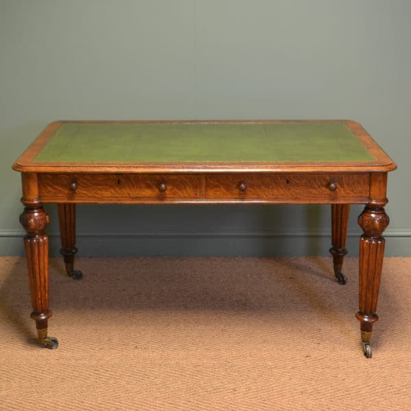 Spectacular Quality Figured Oak Victorian Antique Writing Table by Hindley & Sons