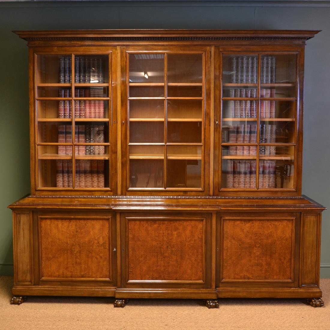 Antique Bookshelves: Stunning Large Edwardian Figured Walnut Antique Library