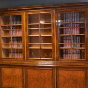 Stunning Large Edwardian Figured Walnut Antique Library Bookcase