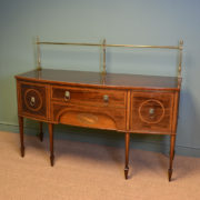 Striking Victorian Inlaid Mahogany Bow Fronted Antique Sideboard