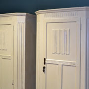 Unusual Pair of Painted Art Deco Antique Wardrobes