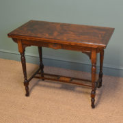 Striking Arts And Crafts Victorian Figured Rosewood Inlaid Side / Games Table By JAS Shoolbred.