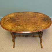 Beautifully Figured Victorian Antique Walnut Oval Occasional Side Table