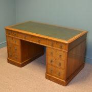 Spectacular Large Golden Oak Antique Victorian Pedestal Desk