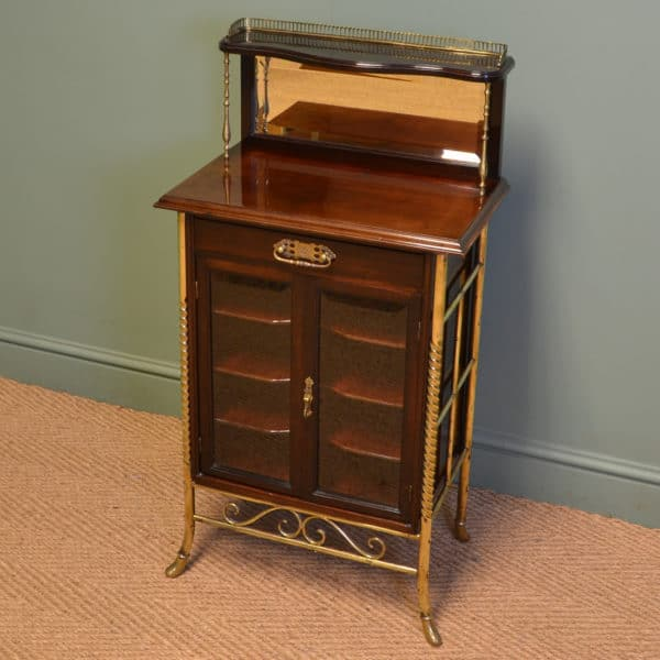 Sensational Victorian Arts And Crafts Walnut Antique Music Cabinet By S.  Hall & Sons - Antique Music Cabinet - Antiques World