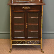 Sensational Victorian Arts And Crafts Walnut Antique Music Cabinet By S. Hall & Sons